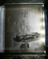 """Antique Glass Dry Plate Photo Negative 4""""×5"""" Photograph Presents Christmas Tree"""