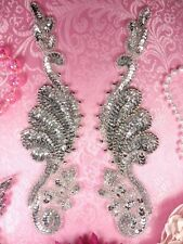"0016 Sequin Beaded Appliques Mirror Pair Silver 8.5"" Set Duo Couple Two"