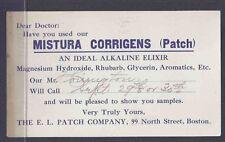 1911 POSTAL CARD CAMBRIDGE MA SALESMANS CALLING CARD ALKALINE ELIXIR FOR DOCTORS