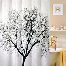 Black Tree Scenery Bathroom Fabric Shower Curtain w/ 12 Hooks Home Decor Gift