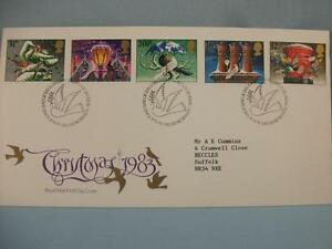 'Christmas', 1983 GB Royal Mail FDI Stamp cover, 5 Xmas Stamps, Dove design H/S