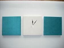 SET OF 3 MODERN FAUX SUEDE TEAL JADE CREAM GREEN AQUA BLUE WALL HANGINGS & CLOCK