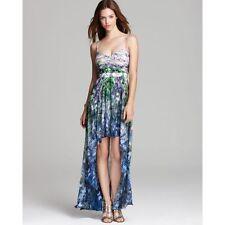 AIDAN ~ Blue Chiffon Print Hi-Low Formal Dress Gown 10 NEW $295