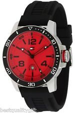 NEW-TOMMY HILFIGER BLACK SILICON BAND+RED-TONE DIAL+DATE WATCH #1790848