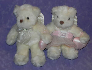 Vintage Avon 1998 Angel Stuffed White 12 in Teddy Bear w/ Wings Boy & Girl Pair