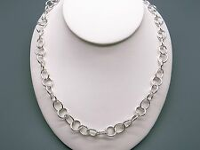 """Handmade Sterling Silver Round Circle Disk Link Chain Adjustable Necklace 17"""""""
