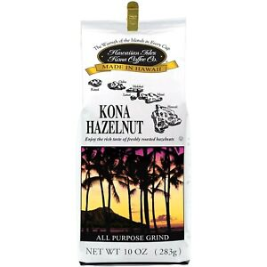 Hawaiian Isles Kona Coffee Co. Kona Hazelnut Ground Coffee, 10 Oz Bag - NEW