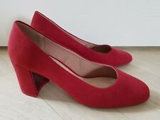 SUEDE COURT SHOES size 3 red BLOCK HEEL work NEXT party ROUND TOE