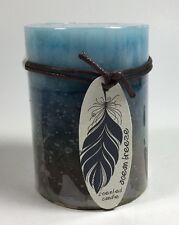 Ocean Breeze Scented Candle Blue Brown 3x4 Pillar