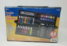 Tiny Crafts Kids Portable Art Kit 68 Pcs Markers Crayons Pencils Pastels New