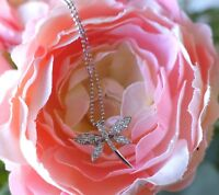 0.50 CT DRAGONFLY ROUND CUT DIAMOND PENDANT NECKLACE SOLID 14K WHITE GOLD FINISH