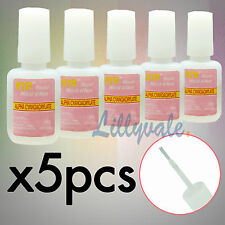 5X10g Nail Art Glue With Brush Adhesive Acrylic False Tips Rhinestones Glitters