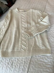 Janie and Jack boys sweater pull over cream cable knit size 8
