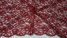 Tessuto Abbigliamento Merletto Pizzo Macrame' Bordeaux Rosso