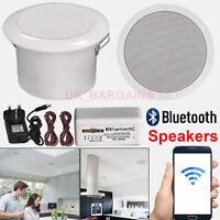 Pair Ceiling Wireless Speakers Bathroom Kitchen Bluetooth Speaker Amplifier UK