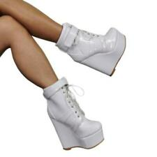 Women Super High Wedge Heel Platform Clubwear Shoes Round Toe Ankle Boots Punk L