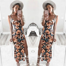 Summer Womens Floral Camis Backless Split Party Bodycon Beach Long Dress UK XL