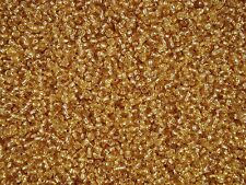Seed Beads 3mm Gold Silver Lined 100g Glass 8/0 Bracelet Sead FREE POSTAGE