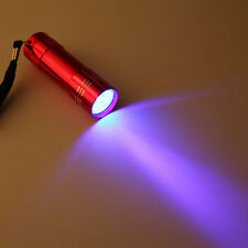 9 LED Flashlight Blacklight Mini Aluminum UV Ultra Violet Torch Light Lamp A