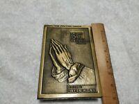 Vintage Praying Hands Spiritual Religious Brass/Bronze Metal Freestanding plague