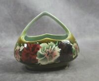 Vintage Czechoslovakian Small Ceramic Basket Floral Flowers Green