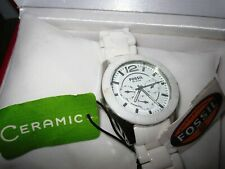 Fossil White Ceramic Mother of Pearl GMT Ladies Watch CE1000