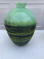 Large Vintage Vase Round Green Stripe Swirl Multi Color Yellow Blue Red