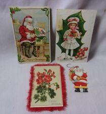 Christmas Antique Embossed Postcard & Greeting Card & Tag Ornament Lot    T*