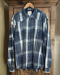 LUCKY BRAND Men's XXL Soft Cotton Pearl Snap Western Button Up Shirt Blue Plaid