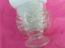 Vintage Heavy Clear Glass Goblet Happy Sad Two Sided Tiki Face Hawaiian LL 565
