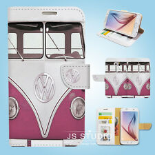 Samsung Galaxy S3 4 5 6 7 8 Edge Plus Note Wallet Case Cover Purple Bus S138