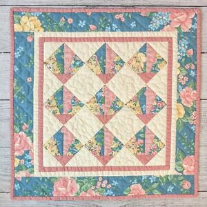 """Handcrafted Quilted Wall Hanging Floral Rose Themed Small 18"""" X 18"""""""