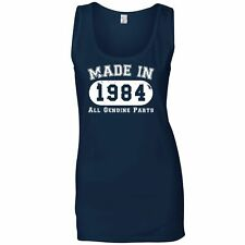 Birthday Ladies Vest Made in 1984 All Genuine Parts Novelty Slogan Old