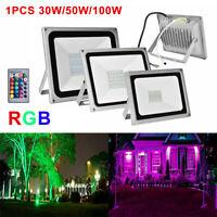 LED Flood Light 30W 50W 100W RGB Outdoor Landscape Multi-Color W/Remote Control