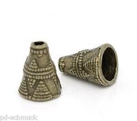 P/D: 60 Bronzefarbe Kegel Perlen Beads Ende Kappen 11x9mm