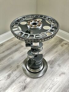 Industrial Steel end table with Gear Top Bmw Crankshaft