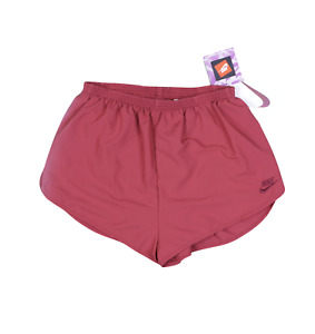 NOS Vtg 90s Nike Womens Large Spell Out Lined Running Jogging Shorts Berry Red