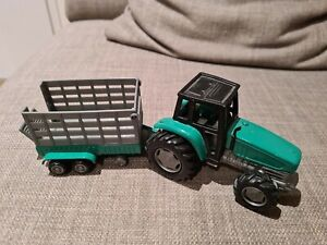 Tractor and trailer metal toy and landrover defender