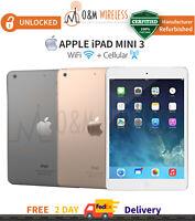 """Apple iPad Mini 3 7.9"""" 16GB 64GB 128GB Silver Gray Gold (WiFi & 4G, Unlocked)"""