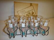 Hazel Ware 8 Vintage Glasses / tumblers Mid Century starburst retro atomic turqu