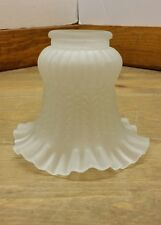 Vintage  Ceiling Fan Lamp Shade Globes Frosted Glass Ruffled Edge ( lot A )