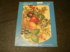 Vintage 1950s? Meyercord Chicago Decal Basket of Fruit & Flowers X130A 9x7