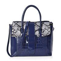 Navy Faux Leather Snake Skin Pattern Tote Bag Handbag with Shoulder Strap