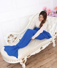 MERMAID TAIL SOFA BLANKET WARM CROCHETED KNIT LAPGHAN CREWEL COVERLET BLUE