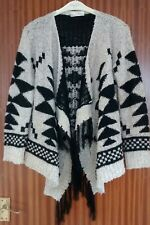 AZTEC GREY BLACK SPARKLY KNITTED FRINGED  PONCHO CARDIGAN SIZE M/L FESTIVAL VGC