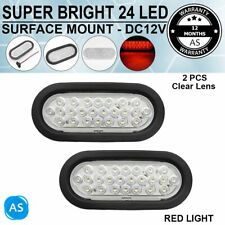 2X 12V Stop Brake Signal 24LED Clearance Clear Red Oval Tail Light Trailer Truck