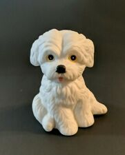 "Homco Dog Figurine Dog #141 White Maltese Dog Decor Statue Pet 3"" Small sitting"