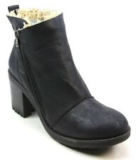 WOMENS BLOWFISH JUMPER BLACK FAUX SHEARLING CASUAL BLOCK HEEL ANKLE BOOTS SIZE 8