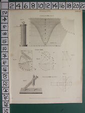 1813 DATED ANTIQUE PRINT ~ DIALLING CYLINDRICAL DIAL PORTABLE UNIVERSAL & CROSS