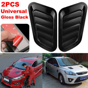2pcs Black Car Front Engine Air Outlet Flow Intake Scoop Hood Bonnet Vent Cover